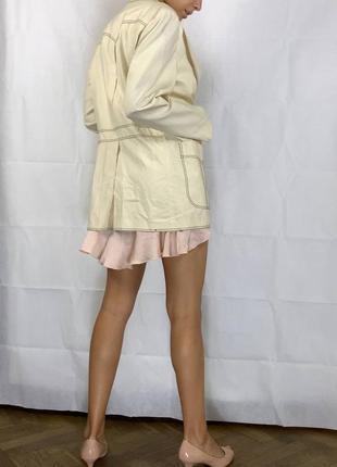 Пиджак контрастная строчка оверсайз объемный хлопок удлиненный3 фото