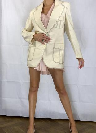 Пиджак контрастная строчка оверсайз объемный хлопок удлиненный2 фото