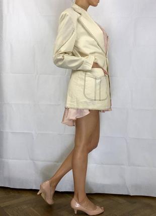Пиджак контрастная строчка оверсайз объемный хлопок удлиненный4 фото