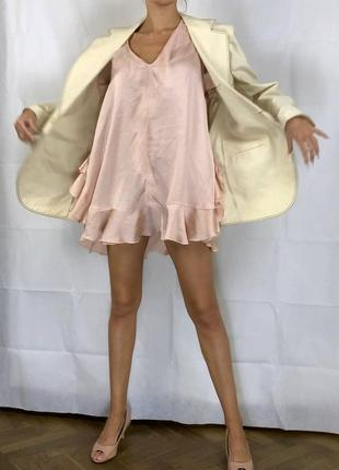 Пиджак контрастная строчка оверсайз объемный хлопок удлиненный6 фото