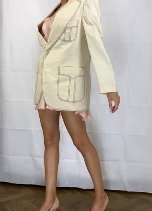 Пиджак контрастная строчка оверсайз объемный хлопок удлиненный7 фото