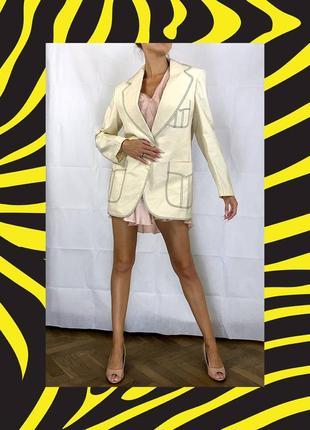 Пиджак контрастная строчка оверсайз объемный хлопок удлиненный