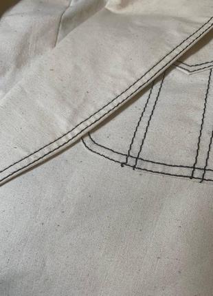 Пиджак контрастная строчка оверсайз объемный хлопок удлиненный10 фото