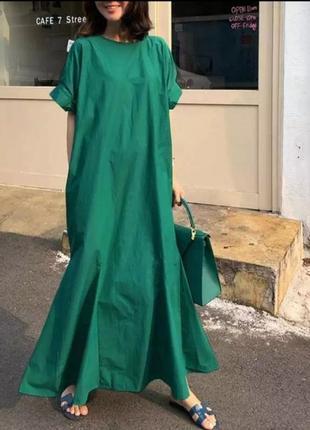 Платье  макси длины из хлопка