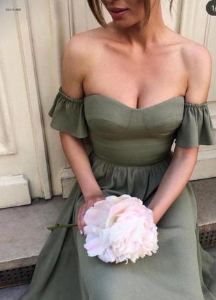 Летнее платье со открытыми плечами