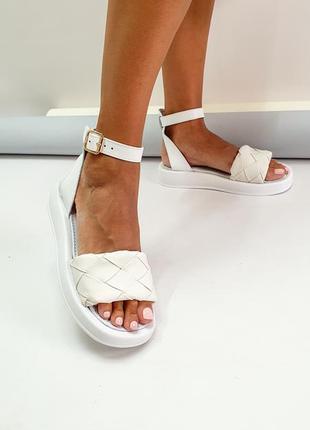 Босоножки белые натуральная кожа р36-40 сандалии туфли босоніжки сандалі туфлі білі