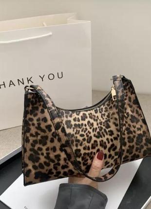 Сумка сумочка клатч багет винтаж леопард