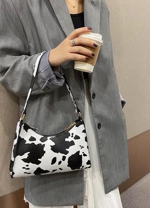 Сумка сумочка буренка корова багет клатч винтаж ретро