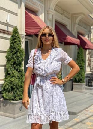 Платье женское летнее свободное короткое мини нарядное белое