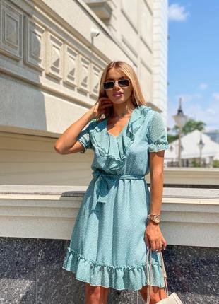 Платье женское летнее свободное короткое мини нарядное голубое бирюзовое