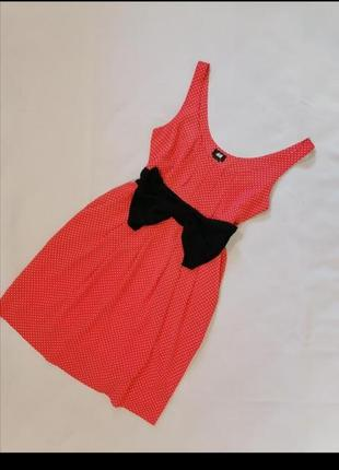 🍉 ярко-красное платье в белый горошек