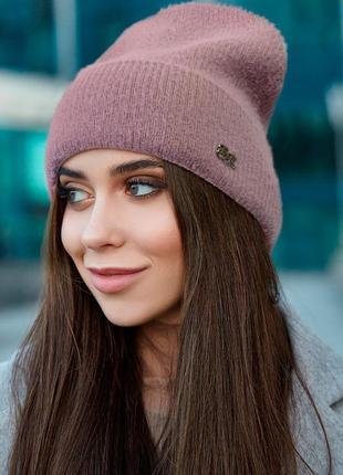 Пушистая шапка-колпак с флисовой полоской