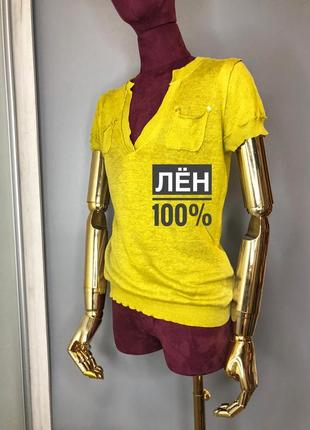 Rützou льняная футболка яркая летняя поло топ лён 100% блуза дизайнерская rundholz owens