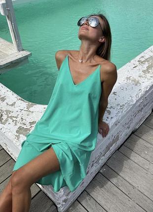 Летнее женское платье-сарафан без рукавов с открытой спиной на бретельках чёрный, красный, беж, зеленый, корал