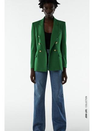 Трендовый зелёный пиджак zara новая коллекция, двубортный пиджак