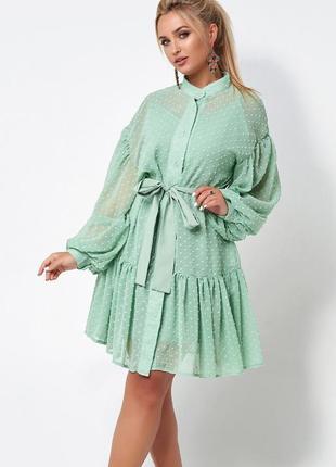 Платье женское летнее свободное короткое до колена с поясом нарядное