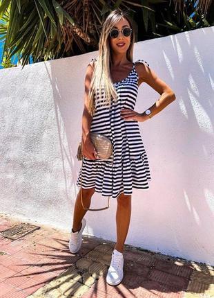 Женское летнее платье сарафан стильное без рукавов, легкий сарафан в полоску с рюшами (чёрный, белый, полоса)