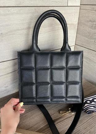 Итальянская кожаная натуральная сумка женская стёганая genuine leather италия на плечо толстый ремешок vera pelle короткая ручка