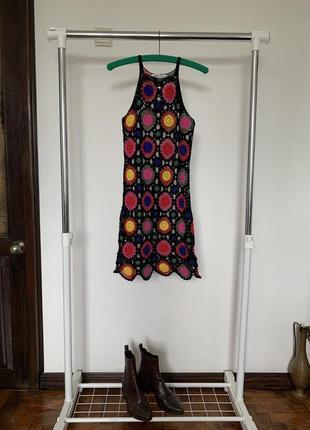 Яркая цветная туника. вязаное пляжное черное платье h&m coachella officiall collection