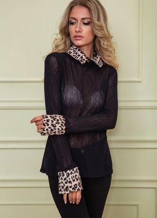Стильная черная женская блузка с анималистическим принтом полупрозрачная женская блузка сетка прозрачная женская блузка с леопардовым принтом