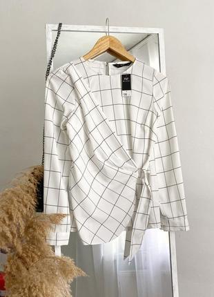 Шикарная блузка в клетку с драпировкой f&f
