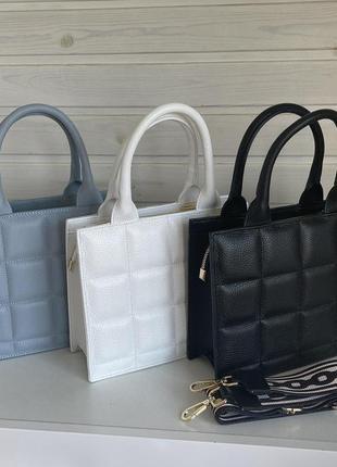 Итальянская кожаная натуральная сумка женская стёганая genuine leather италия чёрная белая бежевая голубая
