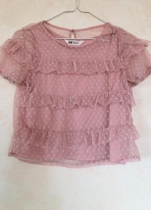 Нежно-розовая блузка для девочки