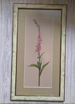 Вышивка гладью картина вышитая панно цветок вышитые цветы ботаника