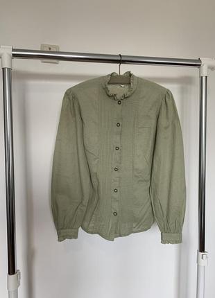 Винтажная льняная рубашка с объемными рукавами. рубашка из натуральной ткани оливкового оттенка hering