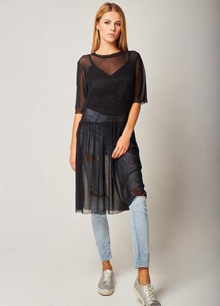 Черное прозрачное шелковое платье чехол,натуральный шелк новое