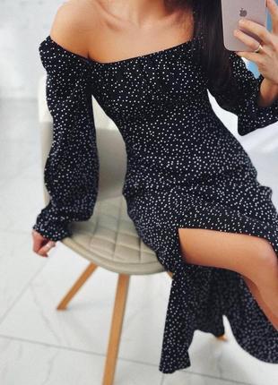 Шикарное платье в горох миди с разрезом  открытыми плечами