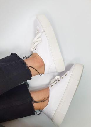 Кроссовки белые натуральная кожа женские кеды кросівки білі шкіра жіночі9 фото