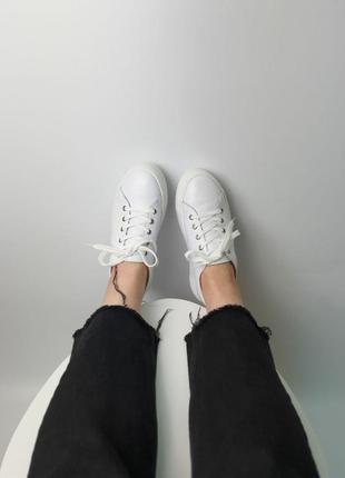 Кроссовки белые натуральная кожа женские кеды кросівки білі шкіра жіночі