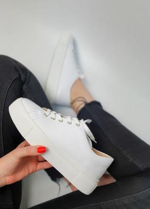 Кроссовки белые натуральная кожа женские кеды кросівки білі шкіра жіночі8 фото