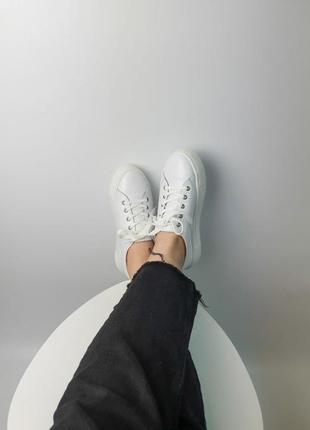 Кроссовки белые натуральная кожа женские кеды кросівки білі шкіра жіночі7 фото