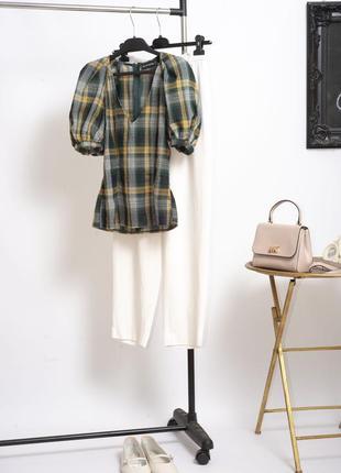 Трендовая хлопковая блуза рубашка с объемными рукавами буфами