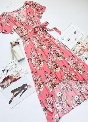 Вискозное платье длины миди с лифом на запах в цветы