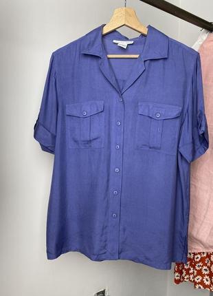 Anna and frank винтажная шелковая натуральная блуза рубашка с коротким рукавом