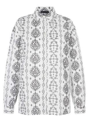 Стильная хлопковая рубашка с длинными рукавами, чёрно-белый принт marks&spenser collection