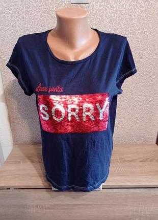 Натуральная хлопковая футболка в паетки sorry/not sorry