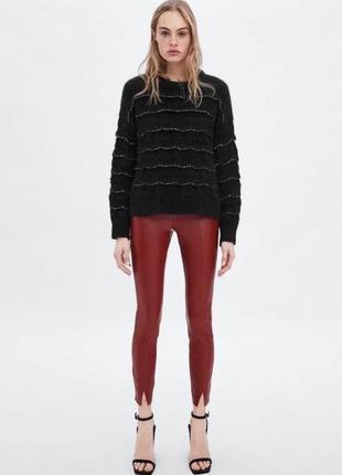 Штаны, брюки, легинсы из эко-кожи zara1 фото