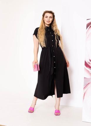 Черное платье-рубашка с поясом.   4 расцветки