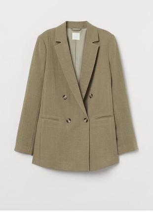 Двубордний пиждак h&m , удлинённый пиджак цвета хаки