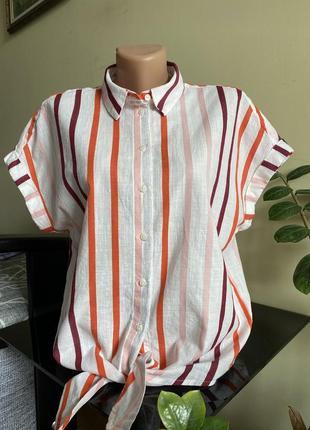 Жіноча сорочка в полоску, рубашка з завязками, блуза