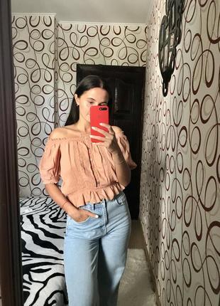 Актуальная укороченная блуза с красивыми пуговицами натуральная ткань вискоза тренд 2021