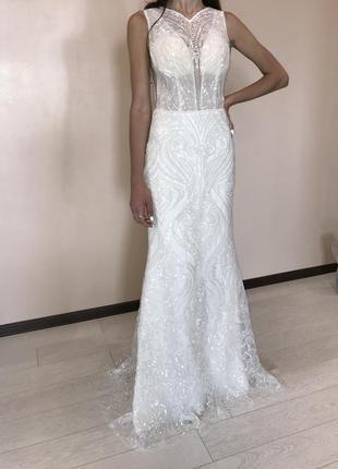 Свадебное платье италия новое а силуэт рыбка новая коллекция скидки недорого