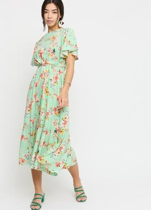 Платье цветочный принт миди с поясом