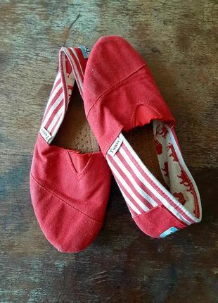 Эспадрильи женские красные классические слиппоны мокасины тапочки кеды