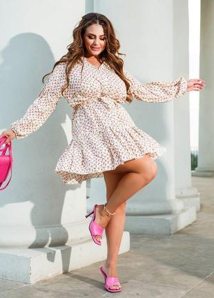 Романтичное платье с рюшем🍇🍃🍃❗ есть большие размеры
