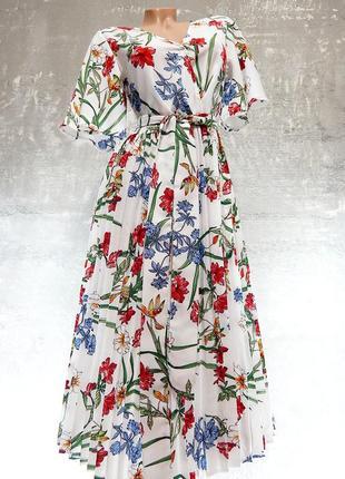 Шикарное воздушное и пышное платьице в нежный цветочный принт/миди - prettylittlething